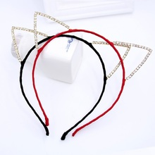 Hand Make Rhinestone Cat Ears Chiffon Headbands Leopard/Soild Color Plush Hairband Bangs Hair Hoop Hair Accessories For Girl