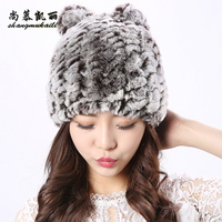 4 colors Cat Hat Winter fur cap Women Genuine Real Fur Rex Rabbit Hats Hand Knitted Female Beanie Hats Ladies Ear Caps Headwear
