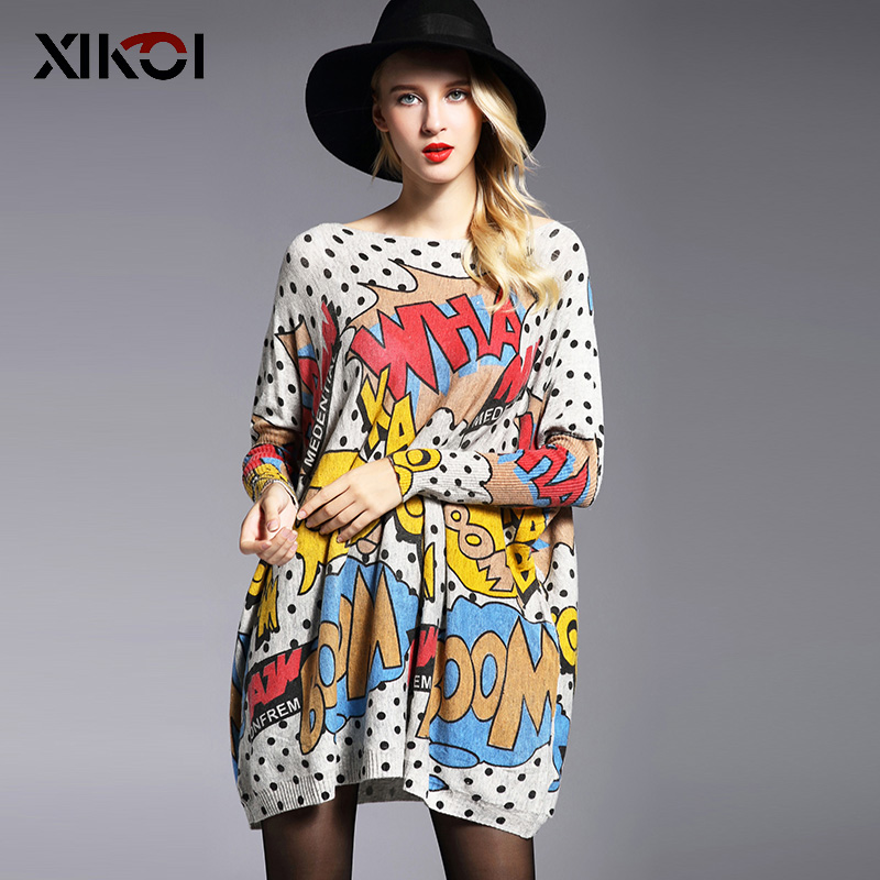 XIKOI Oversize Women Sweater Casual Blød Pullover Mode Batwing Sleeve Wave Point Print Slash Neck Strikket Pullovers Gratis Størrelse
