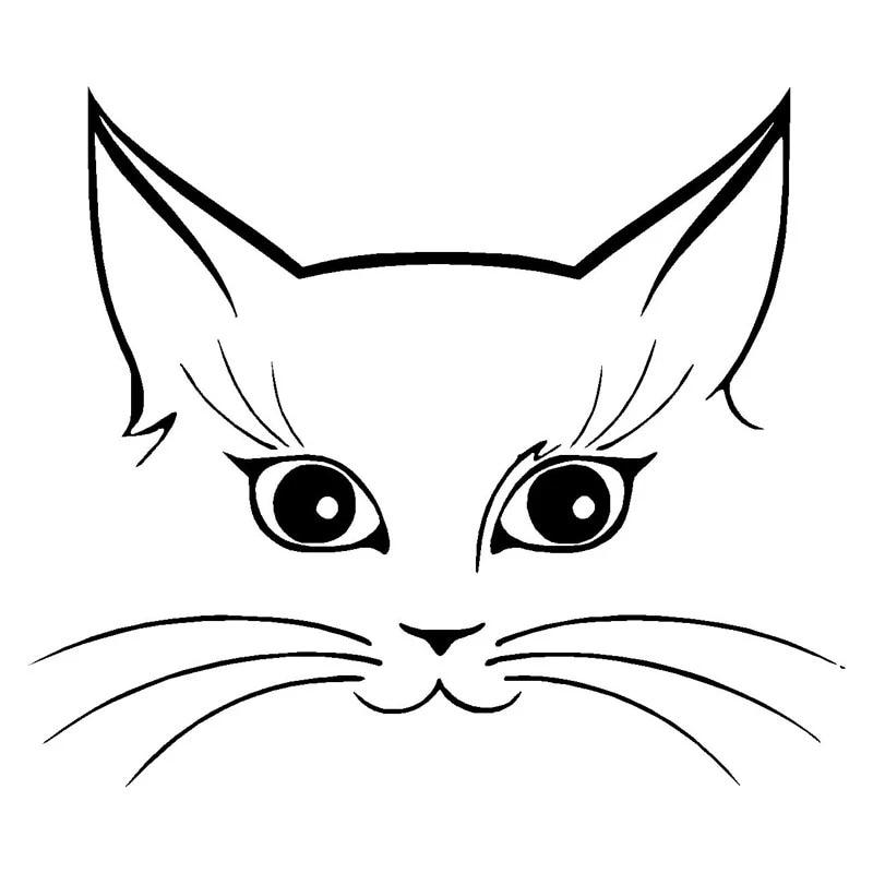 autocollant decoratif en vinyle 14x12cm face de chat mignon style de voiture vitre accessoires decoratifs noir argent