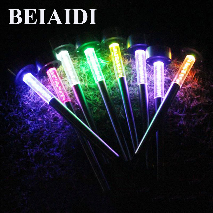 BEIAIDI 5PCS Acrylic Bubble Solar Garden Lawn Light Stainless Steel LED Spike Spot light ...
