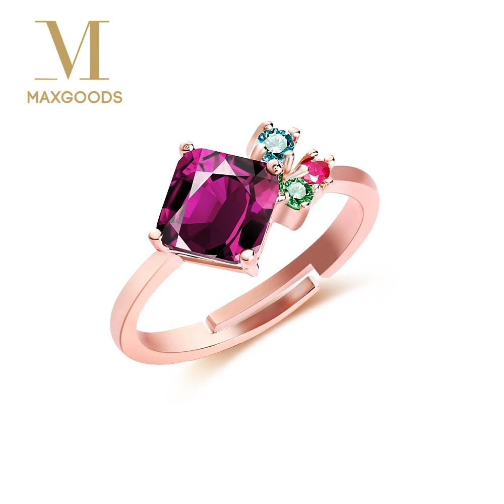 1 Pcs Fashion Colorful Zircon Crystal Finger Ring Vintage Adjustable Women Engagement Jewelry Valentine's Day Gift Jewelry
