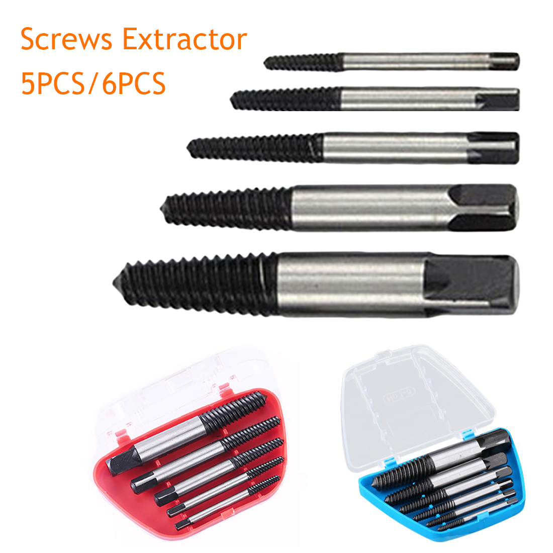 Screw Extractor Broken Bolt Remover Drill Guide Bits Set Drill Bits Easy Out Remover With Case 5pcs/6pcs