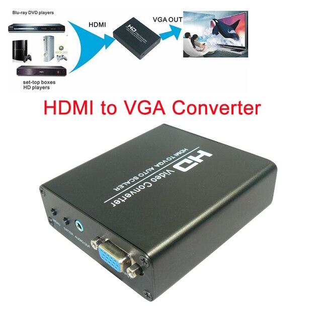 Профессиональные Скейлер HDMI Видео вход на VGA RGB для 1920X1080 + Аудио Конвертер Адаптер