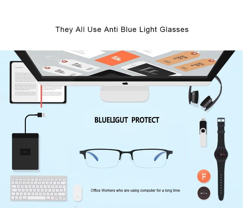 b9c666da1f1 JM Computer Reading Glasses Anti Block Blue Light Spring Hinge Half ...