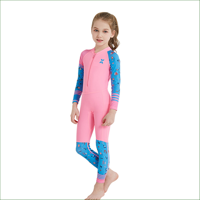 DSP03 UPF 50+ Lycra Long Sleeve Wetsuit Kids One Piece Swimsuit Diving Suit Boys Girls Bathing Suit Children Swimwear Rash Guard