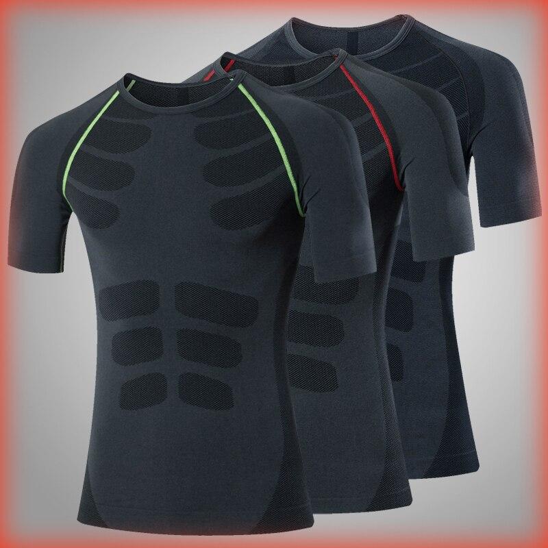 Dégagement Compression chemise entraînement Sport course T-shirt court Jogging T-shirt hommes Train Fitness maillot Rashgard gym chemise