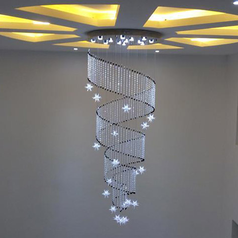 Simple Ring little star crystal LED ceiling lights spiral long rotating staircase light living room lamp modern ceiling lamps ZA 5 circle ring modern fashion floor living room led ceiling lights creative villa long circular staircase lights luxury lamp
