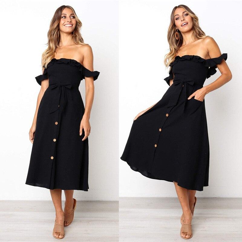 Backless Sexy Women Summer Dress 19 Ruffles Off Shoulder Beach Dress Buttons Strapless Long Sundress Boho Midi Dress Ladies 29