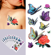 10 Sheets/Lot Waterproof Temporary Tattoo Stickers Colorful Flower With Butterfly DIY Body Art Decoration Temporary Tattoos