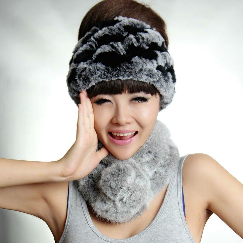 Real Rex Rabbit Fur Headbands Hat Natural Knitted Fur   Headwear   Genuine Fur Warm Ear   Headwear   hat DL6020