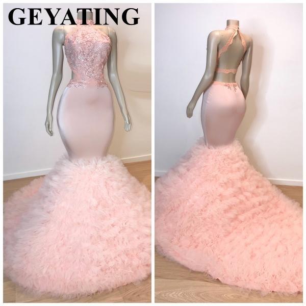 Sexy Backless Pink Long Puffy African Prom Dresses 2019 Elegant Plus Size High Neck Ruffles Burgundy Black Girl Graduation Dress