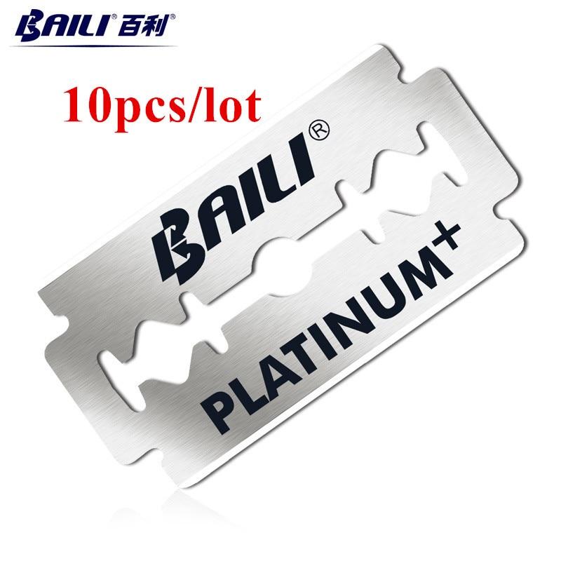 BAILI 10pcs Men's Barber Super Sharp Razor Shaver Blades Double Edge Platinum Stainless Steel for Beard Hair Shaving BP007Ax2