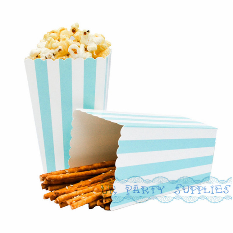 Free Shipping 144pcs Light Blue Stripe Popcorn Boxes Paper Wedding Boxes Miniature Candy Cartons Open Top Treat Tubs