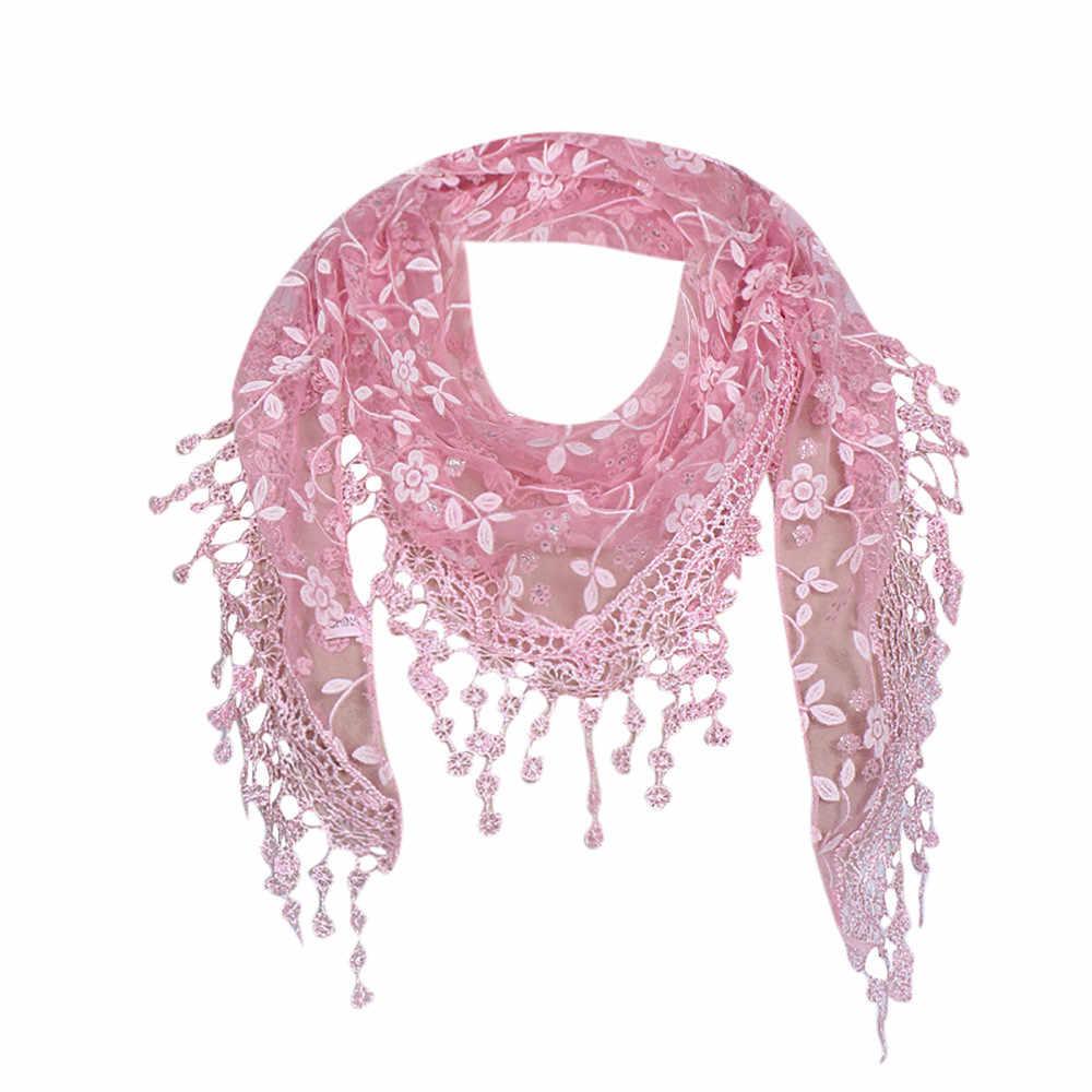 ผู้หญิง Lace SHEER ผ้าพันคอดอกไม้ผ้าคลุมไหล่ผ้าพันคอแฟชั่น Hollow Tassel Lace Rose ดอกไม้ถักสามเหลี่ยม Mantilla ผ้าพันคอ