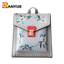 Lock Rivet Floral Women Backpack High Quality Pu Leather School Bags Teengae Girls Mochila Escolar Feminina
