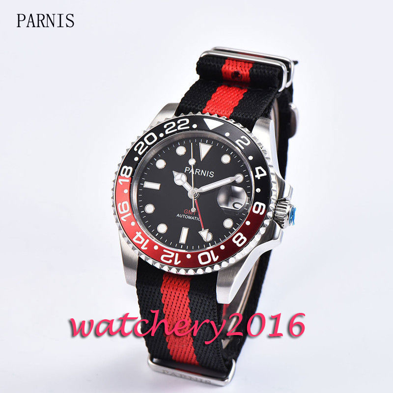 Fashion 40mm Parnis black dial black red bezel date adjust nylon strap sapphire glass GMT Automatic