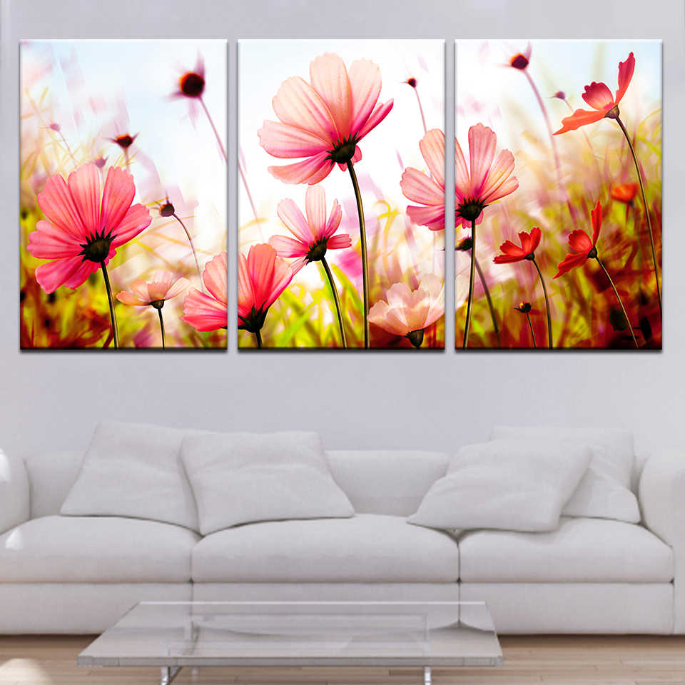 HD Printed Pictures Canvas Wall Art Living Room Home Decor 3 Pieces Abstract Tulip Flowers Paintings Framework Classical Poster