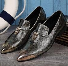 sapato social metal gold steel toe glitter dress wedding shoes mens tassel slip on causal loafers male italian flats size47