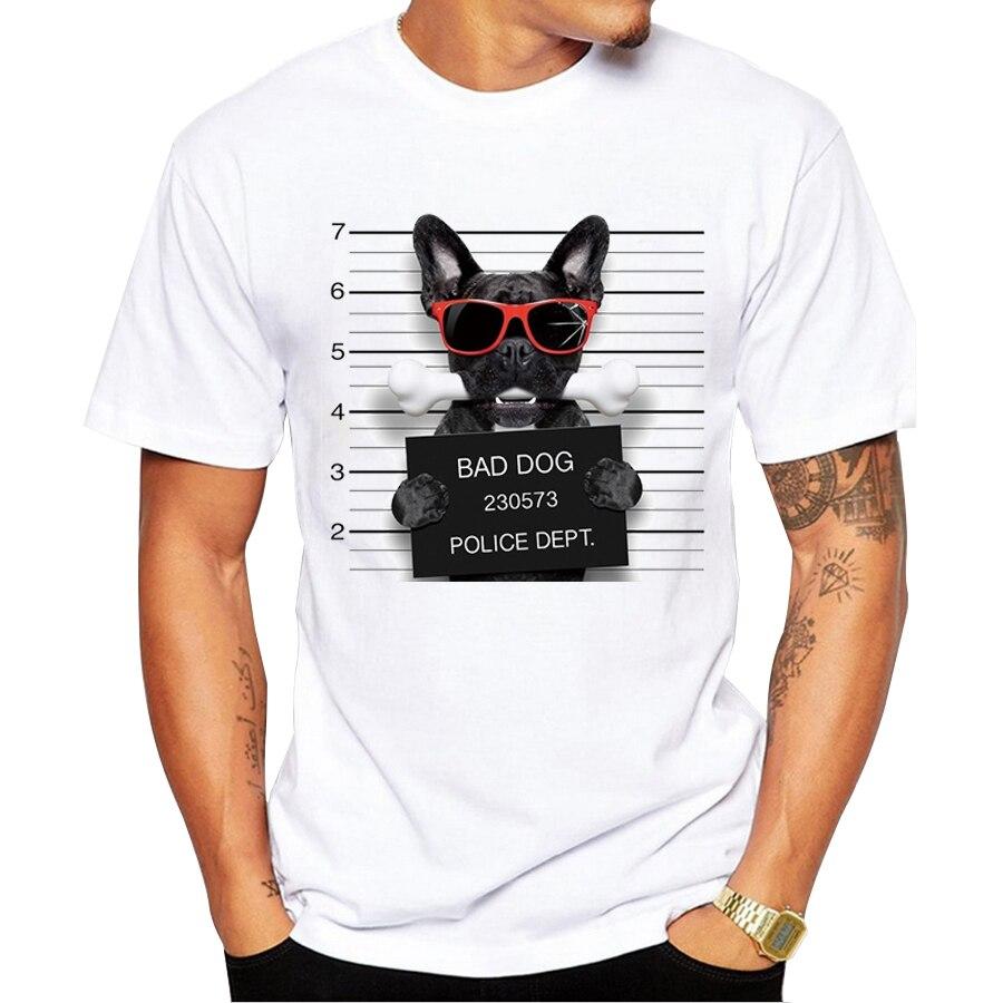 2018 Creative Dog Police Dept Design Men T Shirt Pug Printed T-shirt Short Sleeve Casual French Bulldog Tops