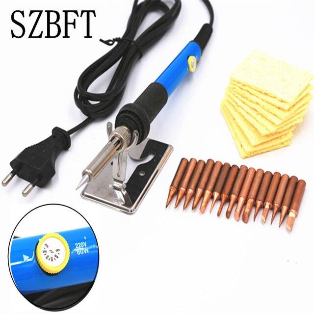 220 v 60 w temperatura ajustável ferro de solda elétrico com 15 pces ponta de solda de cobre puro