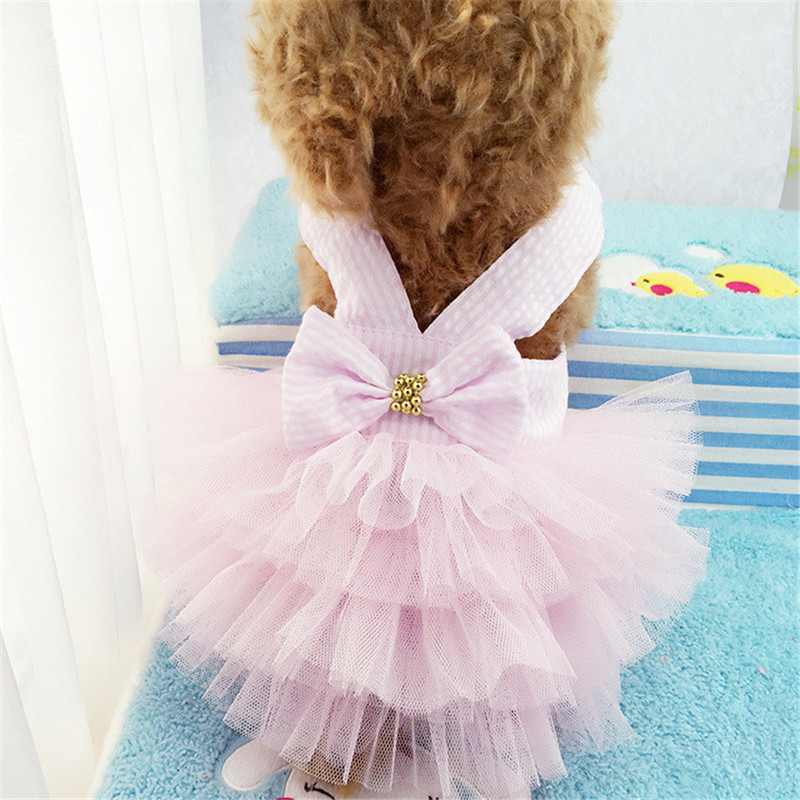 Sling Dog Dress Summer Dog Lace Tullle Dress Pet Dog Clothes For Small Dog Party Birthday Wedding Bowknot Dress Puppy Costume