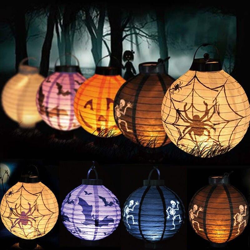 1 pcs halloween decoration led paper pumpkin bat spider light hanging lantern lamp halloween props outdoor