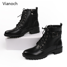 Fashion New Women Ankle Boots Casual Warm Winter Motorcycle Boots Shoes Lace Up Shoe Woman wo1808131 qzyerai autumn and winter new arrival fashion new youth women ankle boots casual shoes women of shoes motorcycle boots