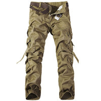 2016 High Quality Men Cargo Pants Multi Pockets Baggy Pants Cotton Military Camouflage Trousers