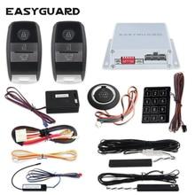 Easyguard Smart key keyless go car alarm system remote engine start push button start touch password entry DC12V