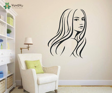 Home Decor Hair Beauty Salon Girl Wall Decal Stylist Woman Art Sticker Removable Living Room YO-9