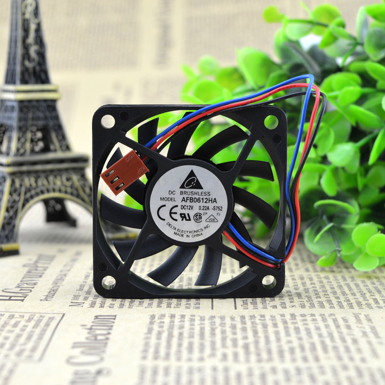 Free Shipping DC 12V 0.22A Cooling Fan For Delta Electronics AFB0612HA -S164 BServer Square Fan 60x60x10mm 3-wire