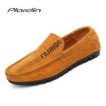 Plardin/2017 Four Seasons Мода круглый носок Разделение кожаные лоферы без шнуровки из мягкой удобное платье Повседневное Вышивание кожа мужская обувь