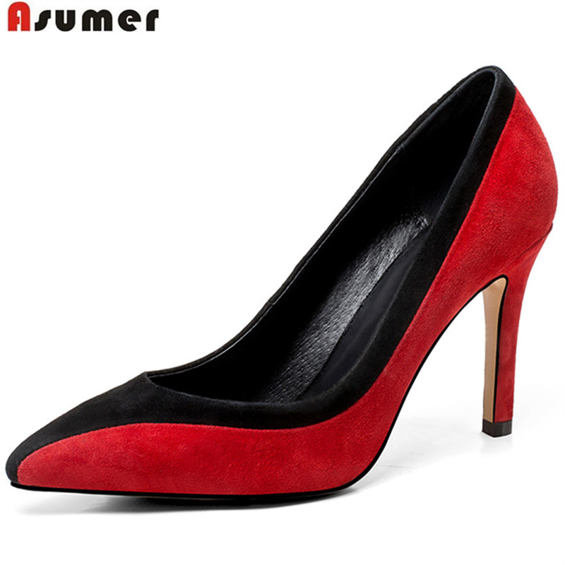 ASUMER 2018 fashion new arrival spring autumn shoes woman pointed toe elegant pumps women shoes mixed colors high heels shoes new arrival fashion bling chunky high heels woman pumps spring autumn unique cross tied pointed toe party zapatos mujer tacon