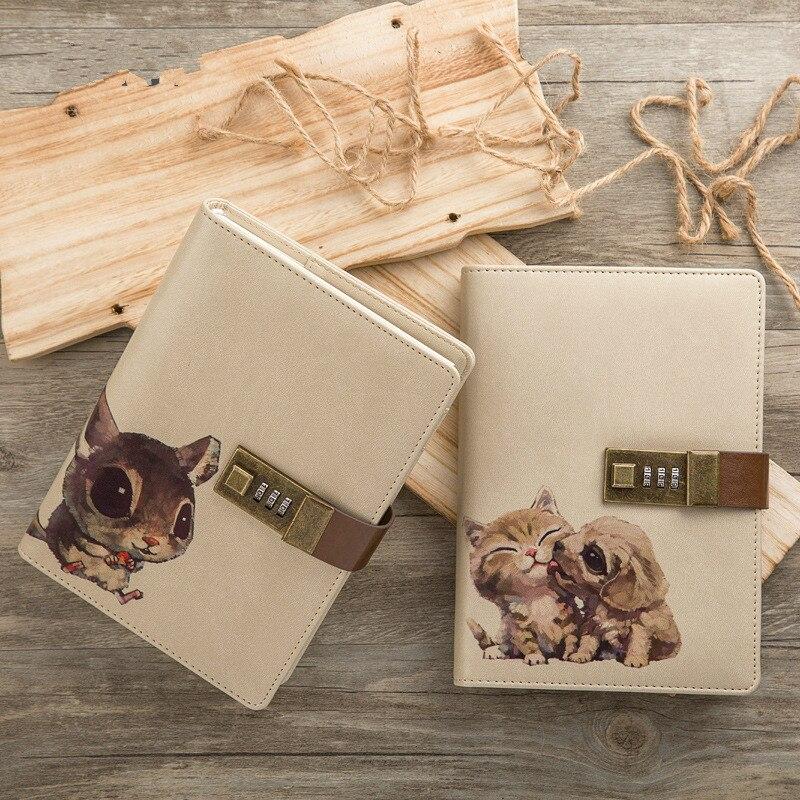 Belle Couples Serrure à Secret Mignon Portable Remplaçable Carnets et Journaux Du Jour 2018 Planificateur Créatifs Journal Filofax HJW036