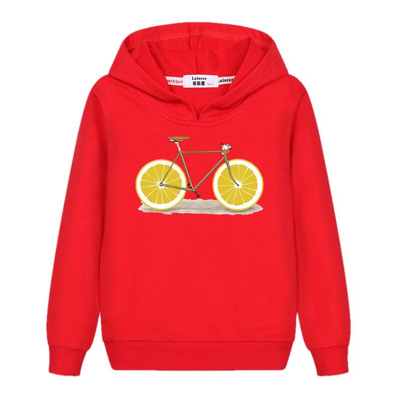2018 Marke Baumwolle Junge Neue Sweatshirt Spaß Lemon Fahrrad Top Kinder Langarm Casual Hoodies Herbst Winter Mädchen Mode Kleidung