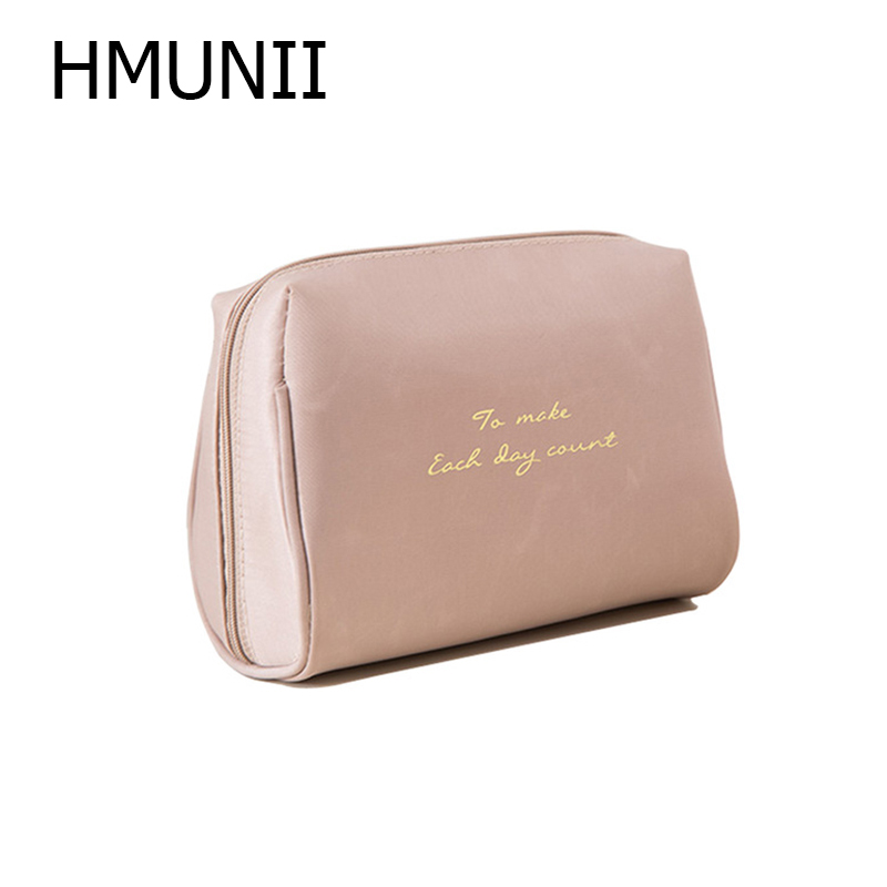 HMUNII Portable Make up Women Makeup Organizer Bag Girls Cosmetic Bag Toiletry Travel Kits Storage bag Hand bag A02-4-011 все цены