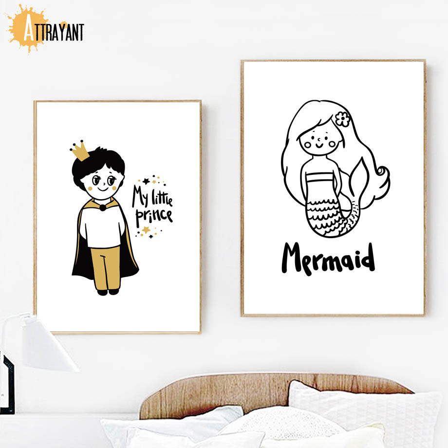 Mermaid Little Prince Fairy Wall Art Canvas Painting Nordic Posters And Prints Wall Pictures For Bedroom Baby Girl Room Decor in Painting Calligraphy from Home Garden