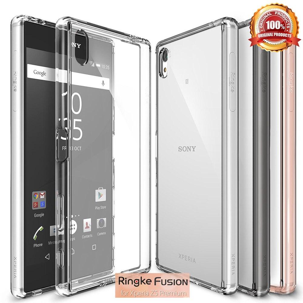 imágenes para Original Ringke Fusión Z5 Premium (5.5 pulgadas) caso Duro Cristalino de La Contraportada Cajas Del Teléfono para Sony Xperia Z5 Premium Resistencia A Caídas