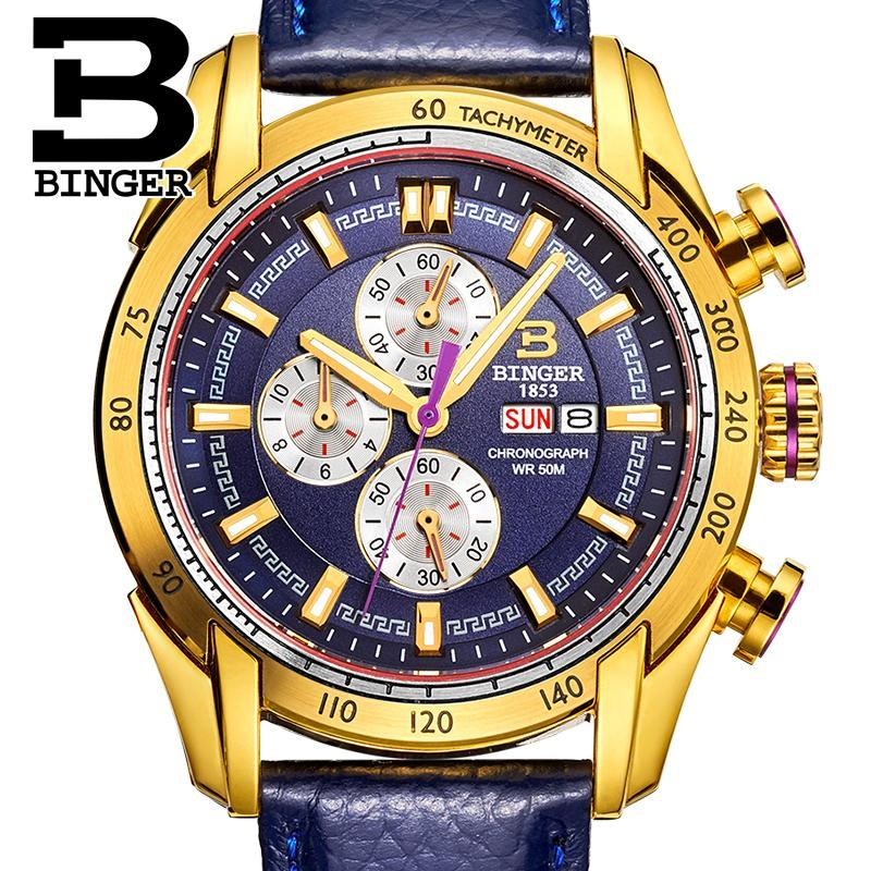 Japon Mouvement Suisse Hommes Montre De Luxe de Marque Montres BINGER Quartz Mâle horloge Chronographe Diver glowwatch B1163-7