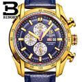 Suiza binger relojes hombres marca de lujo de pulsera de cuarzo reloj cronógrafo diver glowwatch b1163-7