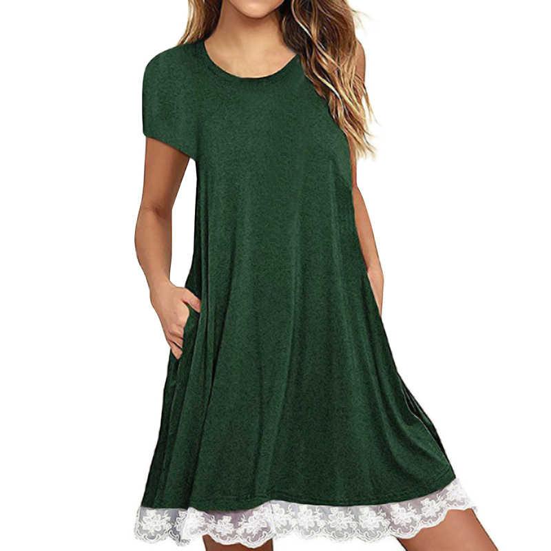 b6932503cc Anself Fashion Women Casual Loose Mini Dress Lace Hem Cotton Short Sleeve  Summer Dress 2019 Pocket