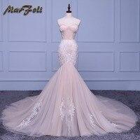 Marfoli Luxury Mermaid Wedding Dresses 2018 With float and Lace Customize Back Zipper Bridal Gown Train Vestidos De Noiva JM002