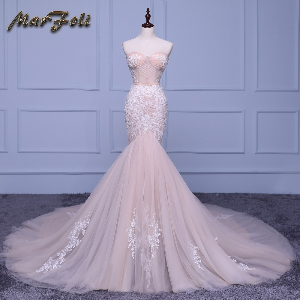 Marfoli Luxury Mermaid Wedding Dresses 2018 With float and Lace Customize Back Zipper Bridal Gown Train Vestidos De Noiva JM002