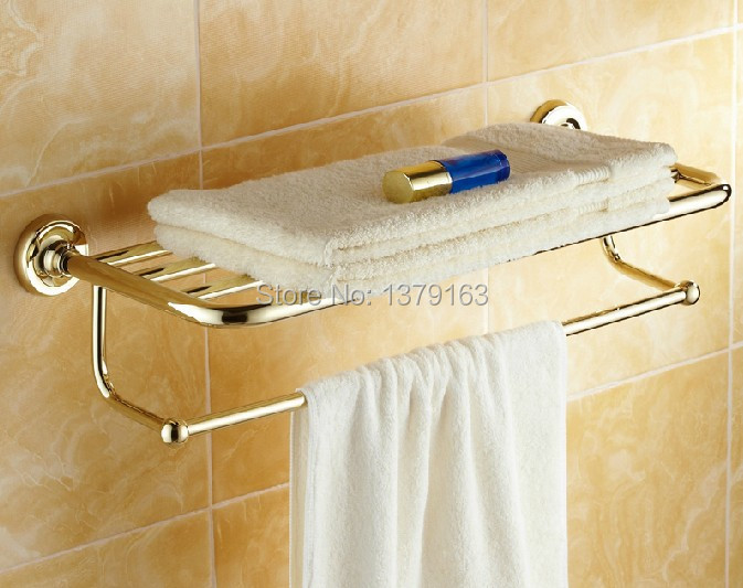 ФОТО Bathroom Fitting Luxury Golden Gold Color Brass Wall Mounted Bathroom Large Towel Holder Towel bar Rack Rail Shelf aba230