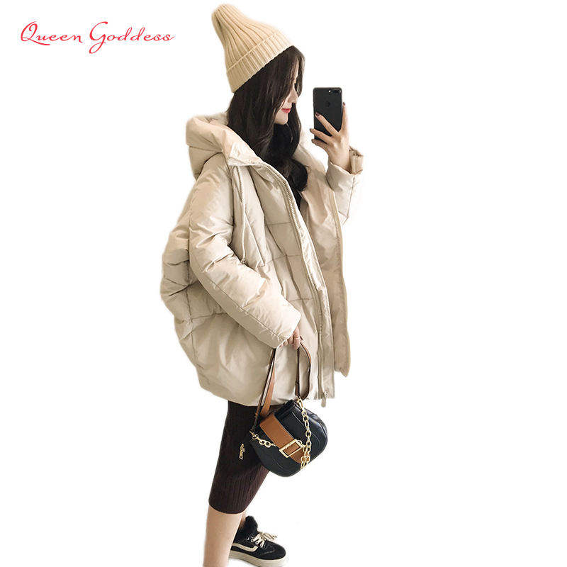 2018 design for young women winter duck down warm jacket cocoon coat stand dollar zipper Placket loose parkas with hood collect