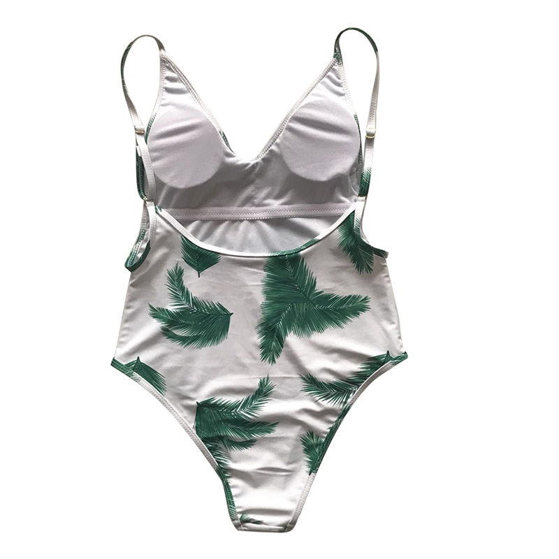 Tropical Leaf Print White Plunging Bandage Monokini Push Up Trikini High Leg Sexy for Girls One Piece Swimsuit Swimwear Backless in Body Suits from Sports Entertainment