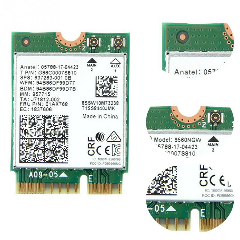 Dual band 1.73Gbps para Intel AC 9560 9560NGW NGFF chave E cartão Wi-fi 9560AC 8020.11ac Bluetooth 5.0 portátil para janelas 10