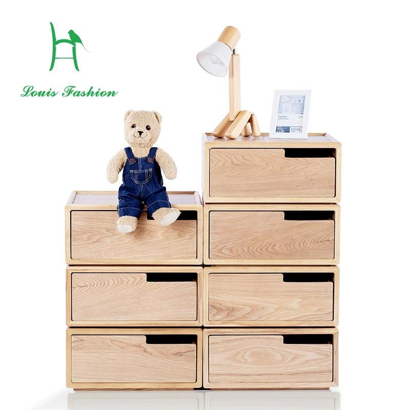€61.09 11% de réduction|Louis mode Vopra Simple moderne en bois massif  chambre armoire de rangement tiroir commode de trois tiroirs de meubles ...