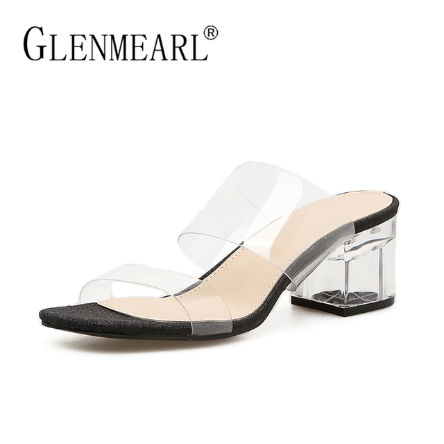 752947e07cc Women Sandals Summer Sexy Slippers Shoes Woman Outdoor Brand Square Heel  Casual Party Ladies Sandals Slippers Shoes Female 35-40